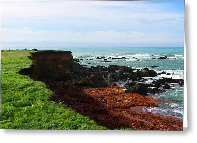Greeting Card featuring the digital art Seaside Bluff by Timothy Bulone
