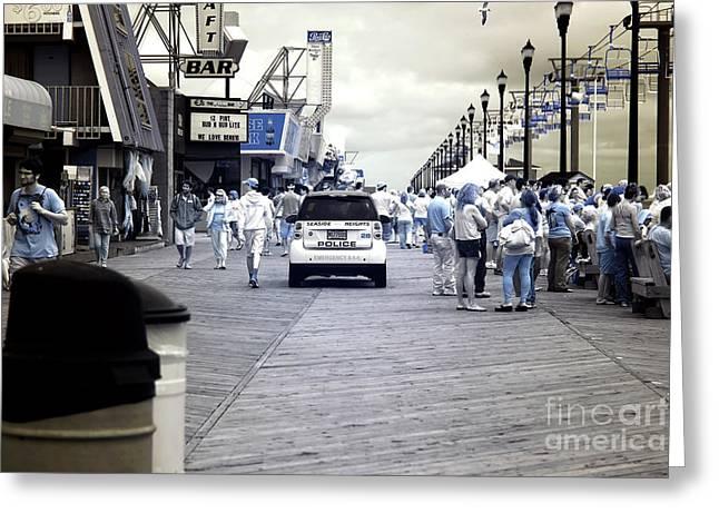 Seaside Heights Boardwalk Crowds Infrared Greeting Card