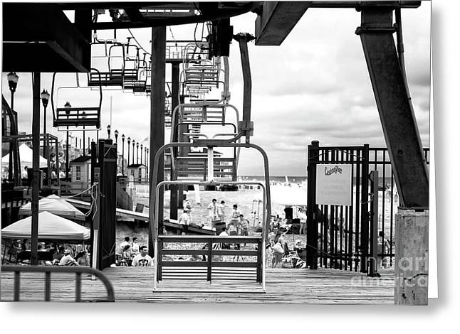 Seaside Heights Chair Lift Infrared Greeting Card by John Rizzuto