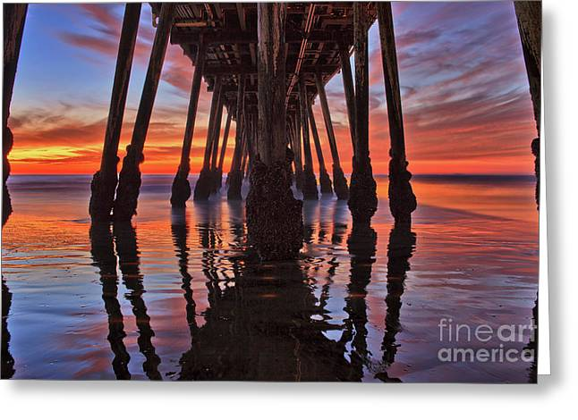 Seaside Reflections Under The Imperial Beach Pier Greeting Card