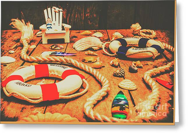 Seaside Ropes And Nautical Decks Greeting Card