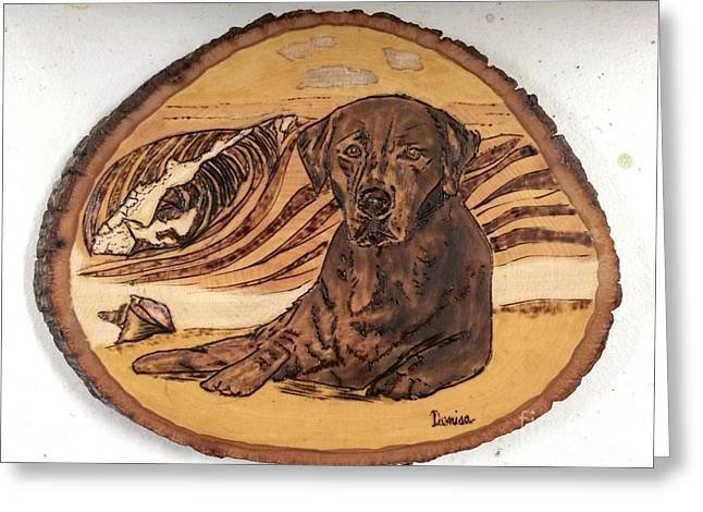 Greeting Card featuring the pyrography Seaside Sam by Denise Tomasura