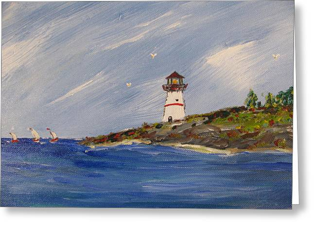 Seaside Sentinel Greeting Card by Dennis Poyant