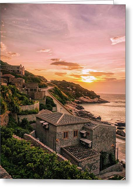 Seaside Sunset Greeting Card by Chester Ho