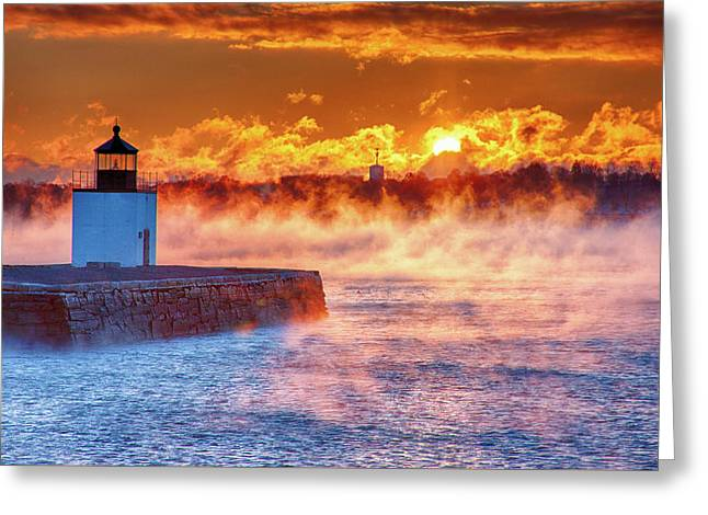 Seasmoke At Salem Lighthouse Greeting Card