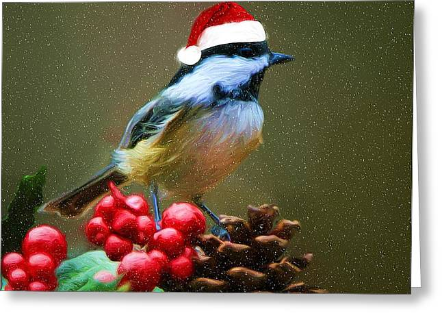 Seasons Greetings Chickadee Greeting Card