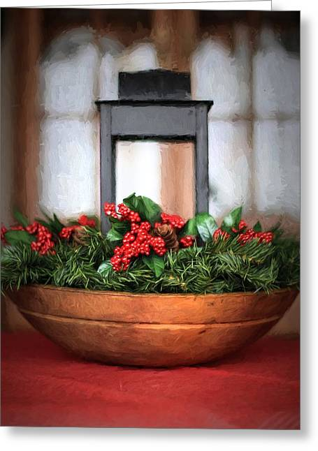 Greeting Card featuring the photograph Seasons Greetings Christmas Centerpiece by Shelley Neff