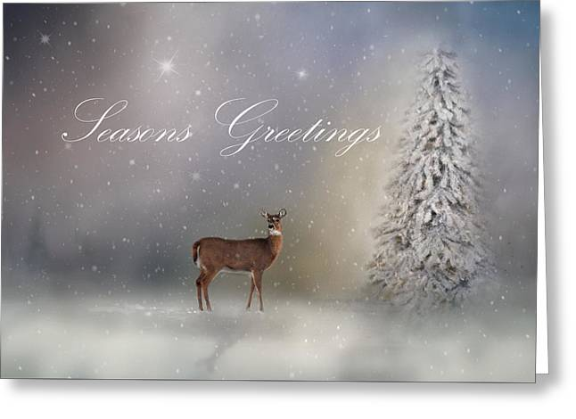 Seasons Greetings With Deer Greeting Card