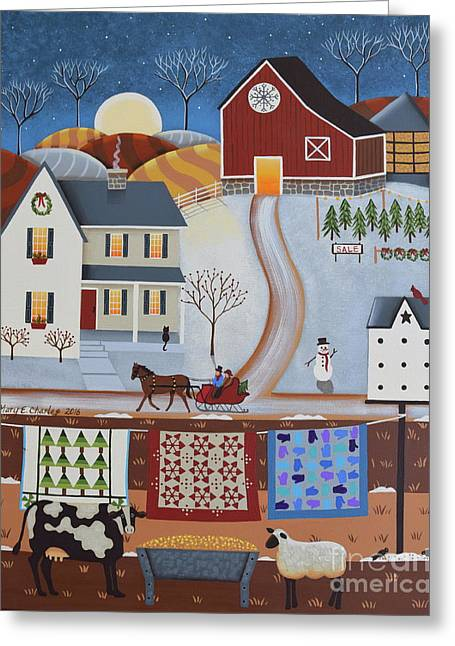 Seasons Of Rural Life - Winter Greeting Card by Mary Charles