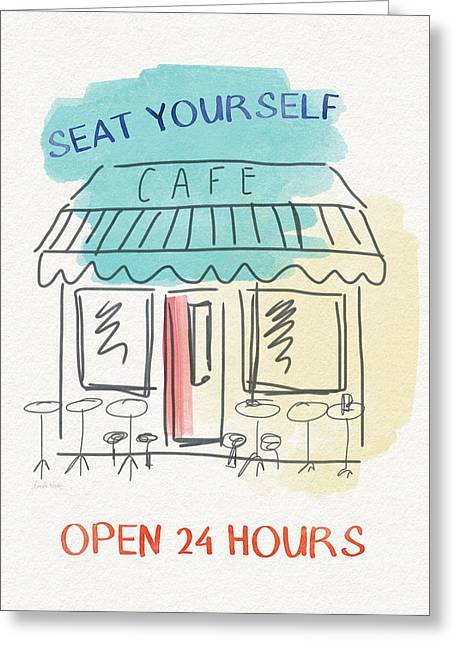 Seat Yourself Cafe- Art By Linda Woods Greeting Card by Linda Woods