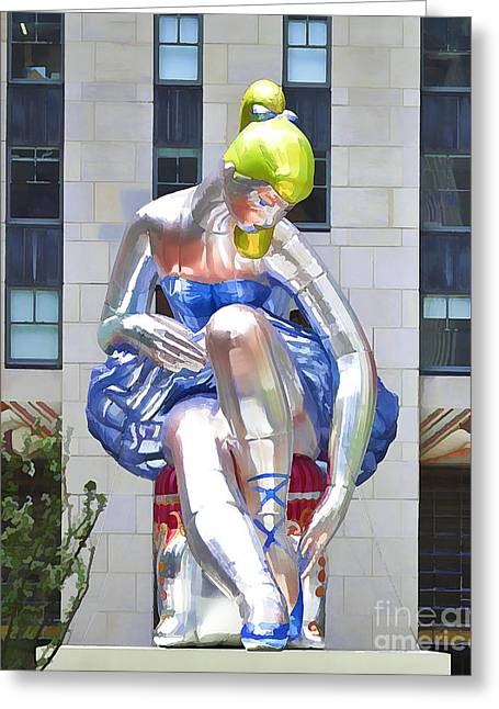 Seated Ballerina At Rockefeller Center 2 Greeting Card by Lanjee Chee