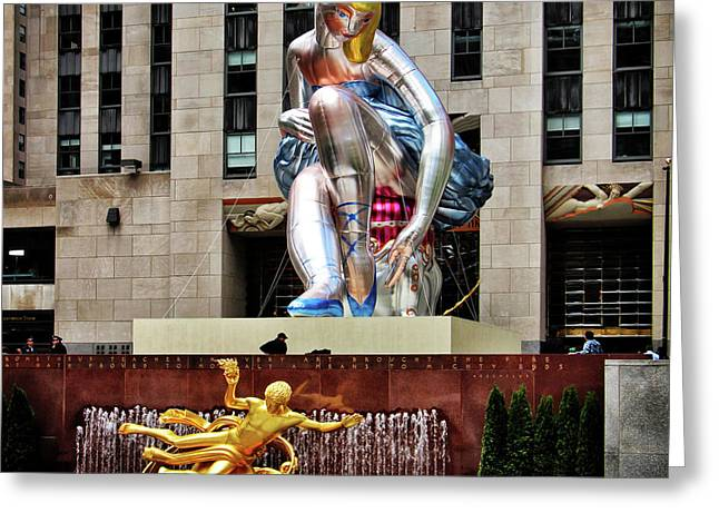 Seated Ballerina Rockefeller Plaza 2 Greeting Card by Nishanth Gopinathan