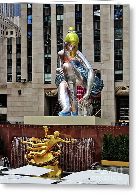 Seated Ballerina Rockefeller Plaza Greeting Card by Nishanth Gopinathan