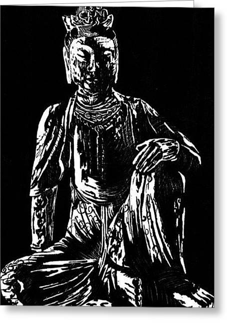 Greeting Card featuring the drawing Seated Buddha by Ashley Kujan