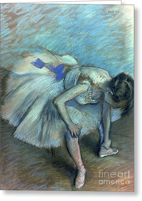 Seated Dancer Greeting Card by Edgar Degas