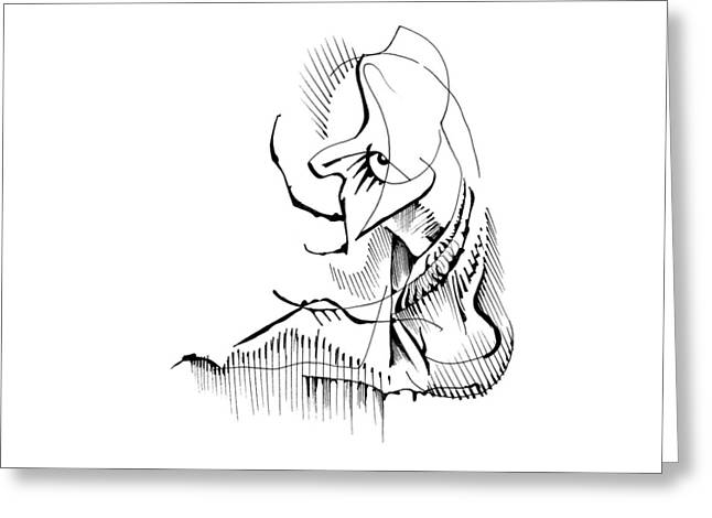 Greeting Card featuring the drawing Seated Ennui by Keith A Link
