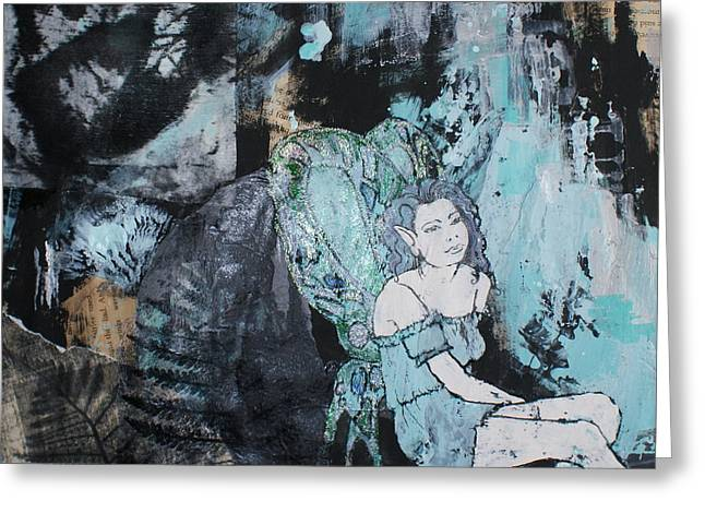 Female Fairy Abstract Greeting Cards - Seated fairy with hand 2 Greeting Card by Joanne Claxton