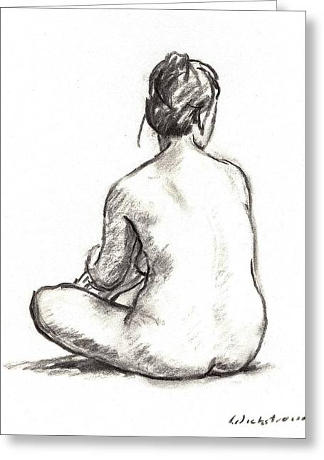 Seated Female Nude Greeting Card by Thor Wickstrom