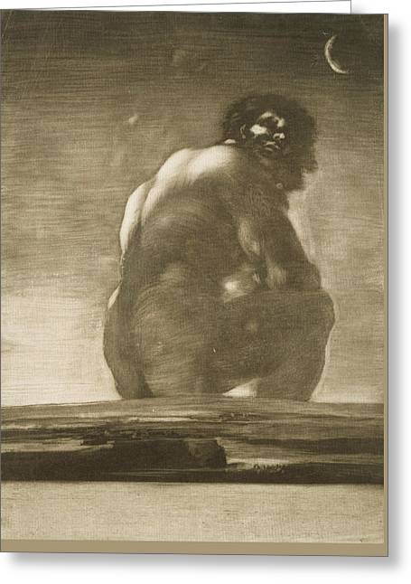 Seated Giant Greeting Card by Francisco Goya