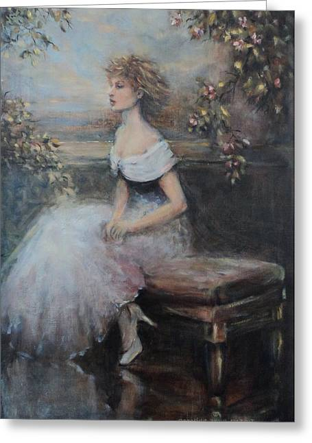 Seated Lady And Flowers Greeting Card by Caroline Anne Du Toit