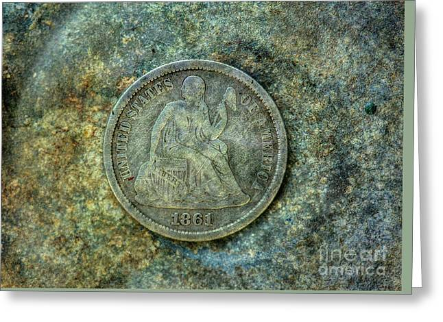 Greeting Card featuring the digital art Seated Libery Dime Coin Obverse by Randy Steele