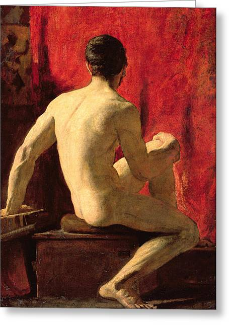 Muscular Greeting Cards - Seated Male Model Greeting Card by William Etty