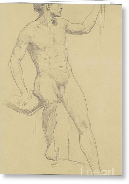 Seated Male Nude Greeting Card