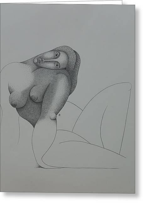 Sacha Greeting Cards - Seated Nude 2008 Greeting Card by S A C H A -  Circulism Technique