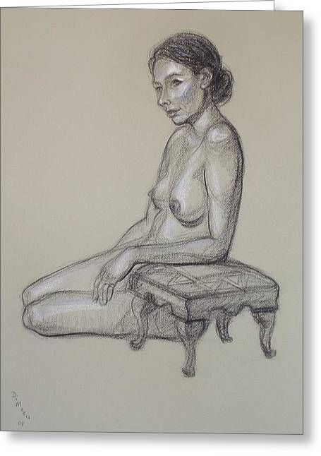 Nude Greeting Cards - Seated Nude 3 Greeting Card by Donelli  DiMaria
