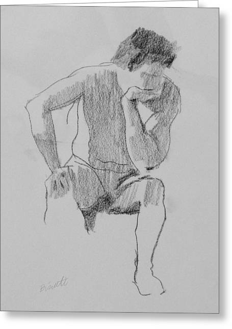 Seated Nude 3 Greeting Card by Robert Bissett