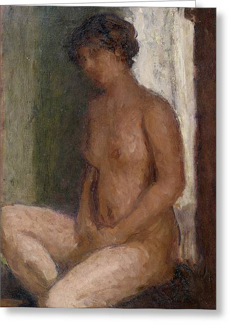 Seated Nude Against The Light Greeting Card by Roderic OConor