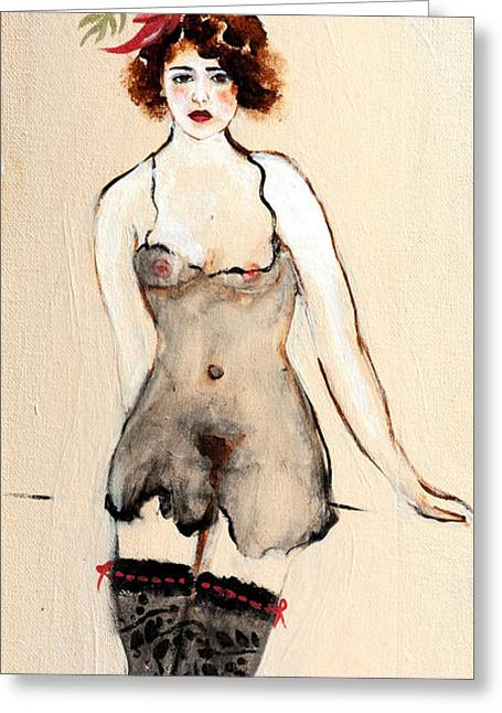 Seated Nude In Black Stockings With Flower And Bird Greeting Card by Susan Adams