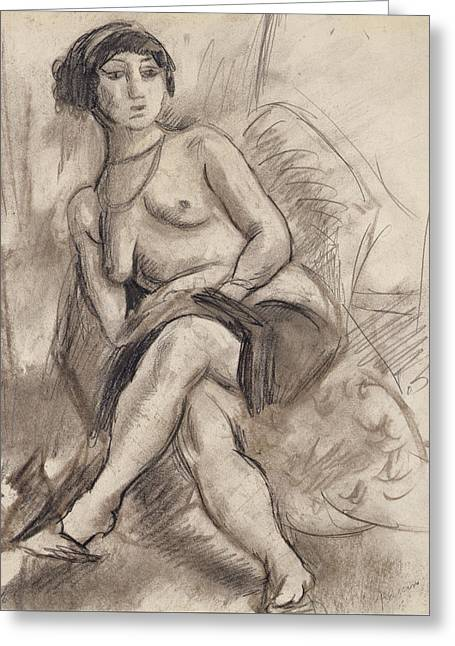 Seated Nude Model Greeting Card by Jules Pascin