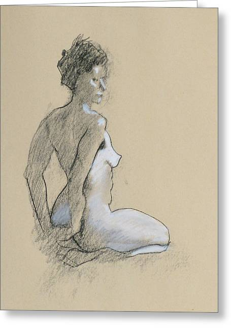 Seated Nude Greeting Card by Robert Bissett