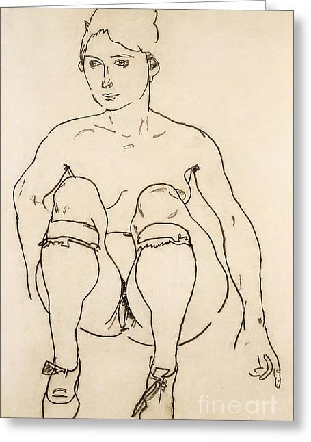 Seated Nude With Shoes And Stockings Greeting Card by Egon Schiele