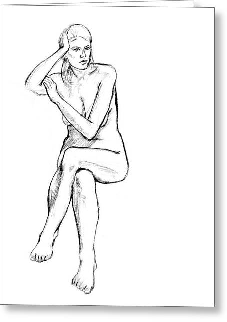 Grayscale Drawings Greeting Cards - Seated Nude Woman Greeting Card by Adam Long