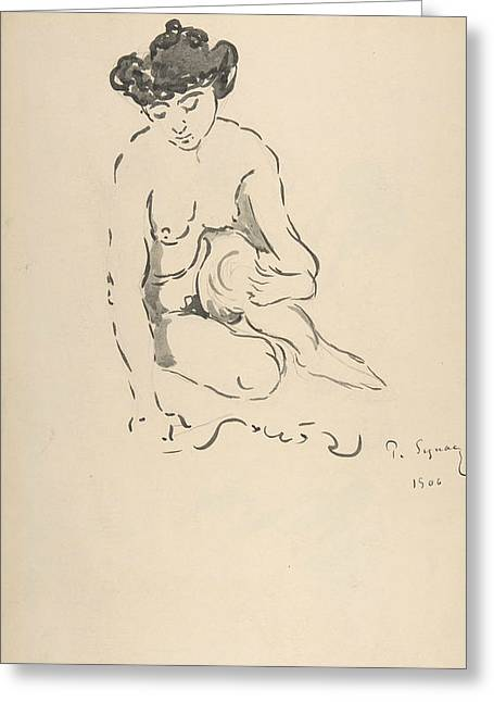Seated Nude Woman Greeting Card by Paul Signac