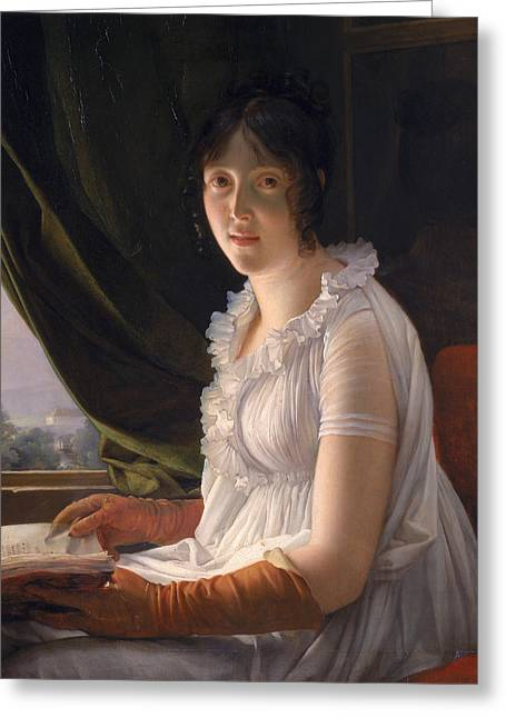Seated Portrait Of Marie Philippe Claude Walbonne Greeting Card by Francois Pascal Simon Gerard