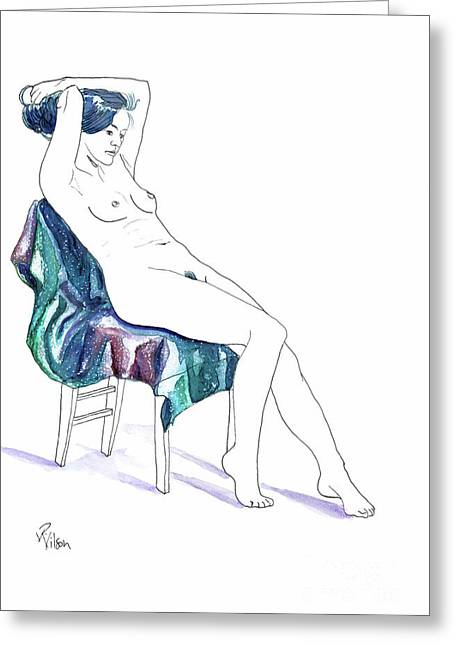 Seated Woman Greeting Card by D Renee Wilson