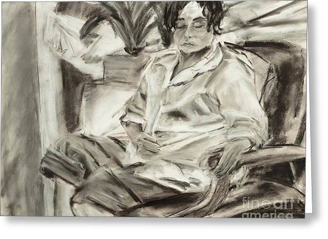 Seated Woman Greeting Card by Edward Fielding
