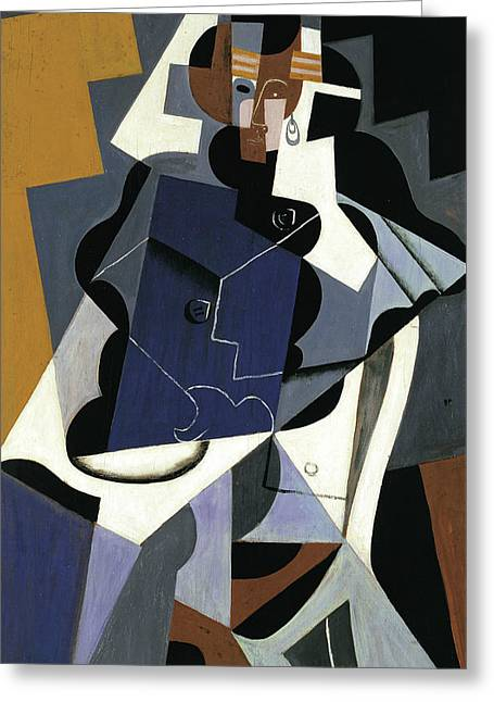 Seated Woman Greeting Card by Juan Gris