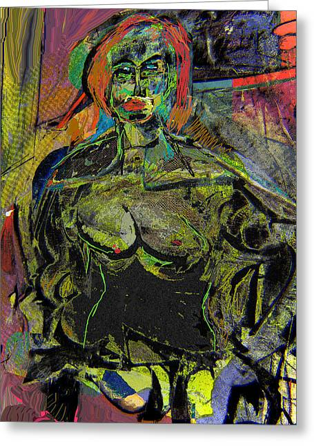 Seated Woman Greeting Card by Noredin Morgan