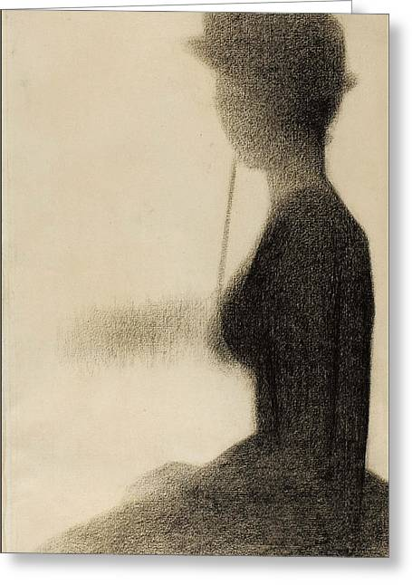 Seated Woman With A Parasol Study For La Grande Jatte Greeting Card by Georges-Pierre Seurat