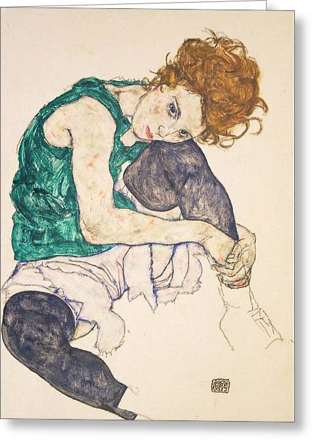 Seated Woman With Legs Drawn Up Greeting Card by Egon Schiele
