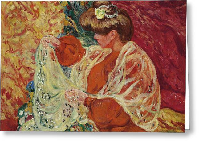 Seated Woman With Shawl Greeting Card by Louis Valtat