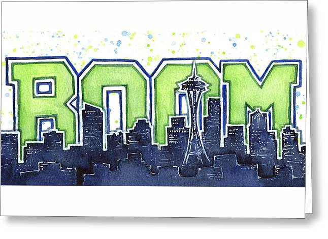 Seattle 12th Man Legion Of Boom Painting Greeting Card by Olga Shvartsur
