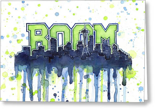 Seattle 12th Man Legion Of Boom Watercolor Greeting Card by Olga Shvartsur