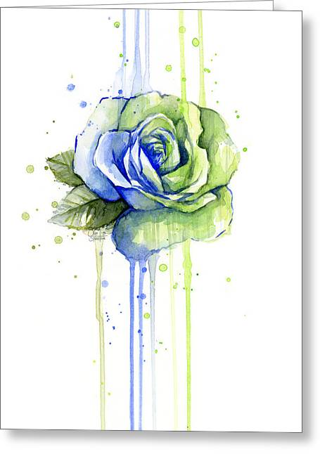 Seattle 12th Man Seahawks Watercolor Rose Greeting Card by Olga Shvartsur