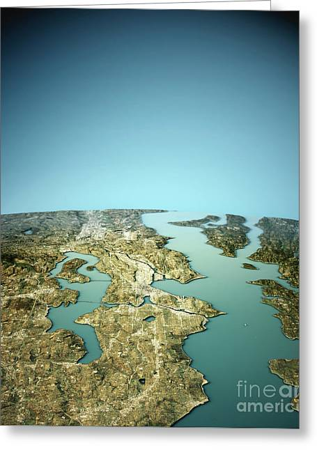 Seattle 3d View North To South Natural Color Greeting Card by Frank Ramspott