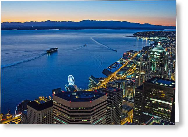 Seattle And Elliott Bay From Above Greeting Card by Rocky Grimes
